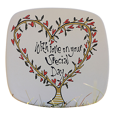 Image of Gallery Thea Personalised Heart Tree Square Plate, Medium