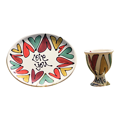 Gallery Thea Personalised Traditional Hearts Egg Cup and Plate
