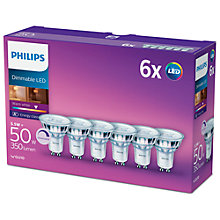 Buy Philips 5.5W GU10 LED Dimmable Warm White Light Bulb, Pack of 6 Online at johnlewis.com