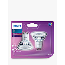 Buy Philips 4.6W GU10 LED NDX2 Warm White Light Bulb, Pack of 2 Online at johnlewis.com