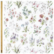 Buy John Lewis Foxglove Botanical Print Fabric, Pink Online at johnlewis.com