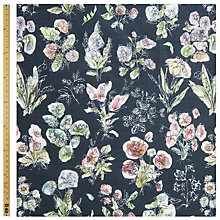 Buy John Lewis Foxglove Botanical Print Fabric, Black Online at johnlewis.com