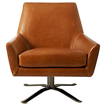 Buy west elm Lucas Leather Swivel Chair, Saddle Leather Bronze Online at johnlewis.com