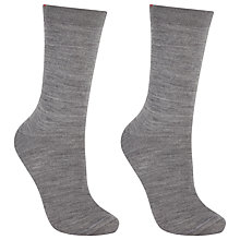Buy John Lewis Merino Wool Mix Ankle Socks, Pack of 2, Grey Online at johnlewis.com