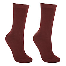 Buy John Lewis Merino Wool Blend Ankle Socks, Claret Online at johnlewis.com