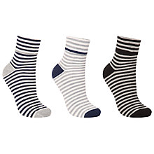 Buy John Lewis Turn Over Stripe Ankle Socks, Pack of 3, Navy/Grey Online at johnlewis.com