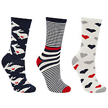 Buy John Lewis Rabbit Print Ankle Socks, Pack of 3, Grey/Navy Online at johnlewis.com