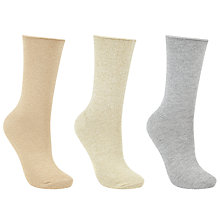 Buy John Lewis Glitter Ankle Socks, Pack of 3, Gold/Cream Online at johnlewis.com