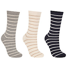 Buy John Lewis Roll Top Stripe Ankle Socks, Pack of 3, Navy/Multi Online at johnlewis.com