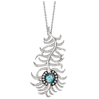 London Road 9ct White Gold Diamond and Zircon Portobello Peacock Feather Pendant Necklace, White Gol