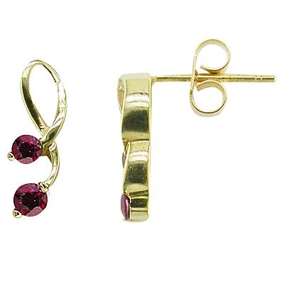 EWA 9ct Yellow Gold Ruby Drop Earrings, Gold