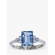 Buy EWA 18ct White Gold Diamond Aquamarine Ring, White Gold/Aquamarine Online at johnlewis.com