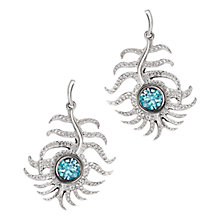 Buy London Road 9ct White Gold Diamond and Zircon Feather Drop Earrings, Blue Online at johnlewis.com
