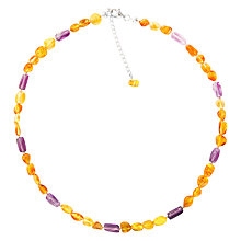 Buy Goldmajor Sterling Silver Amber and Amethyst Collar Necklace, Silver/Amber Online at johnlewis.com