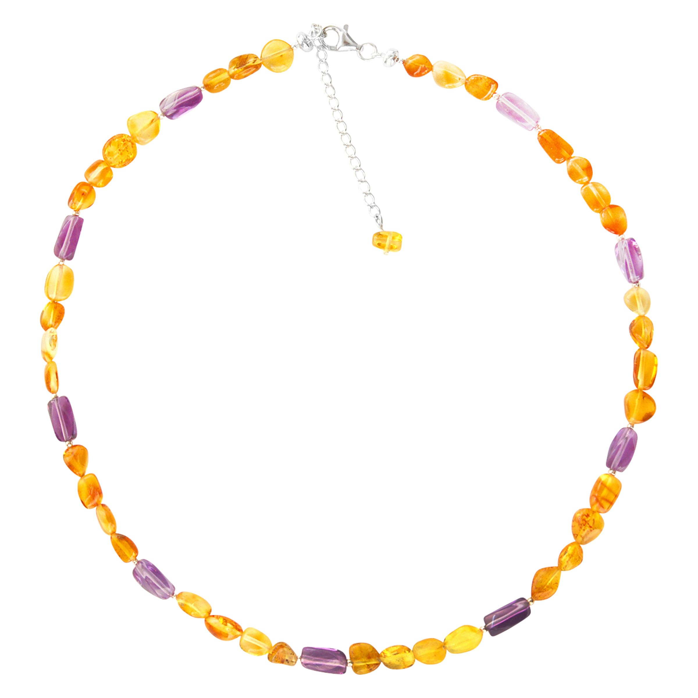 Goldmajor Goldmajor Sterling Silver Amber and Amethyst Collar Necklace, Silver/Amber