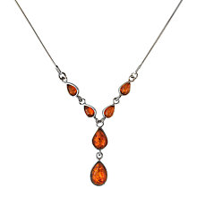 Buy Goldmajor Amber and Sterling Silver Teardrop Collar Necklace, Silver/Amber Online at johnlewis.com