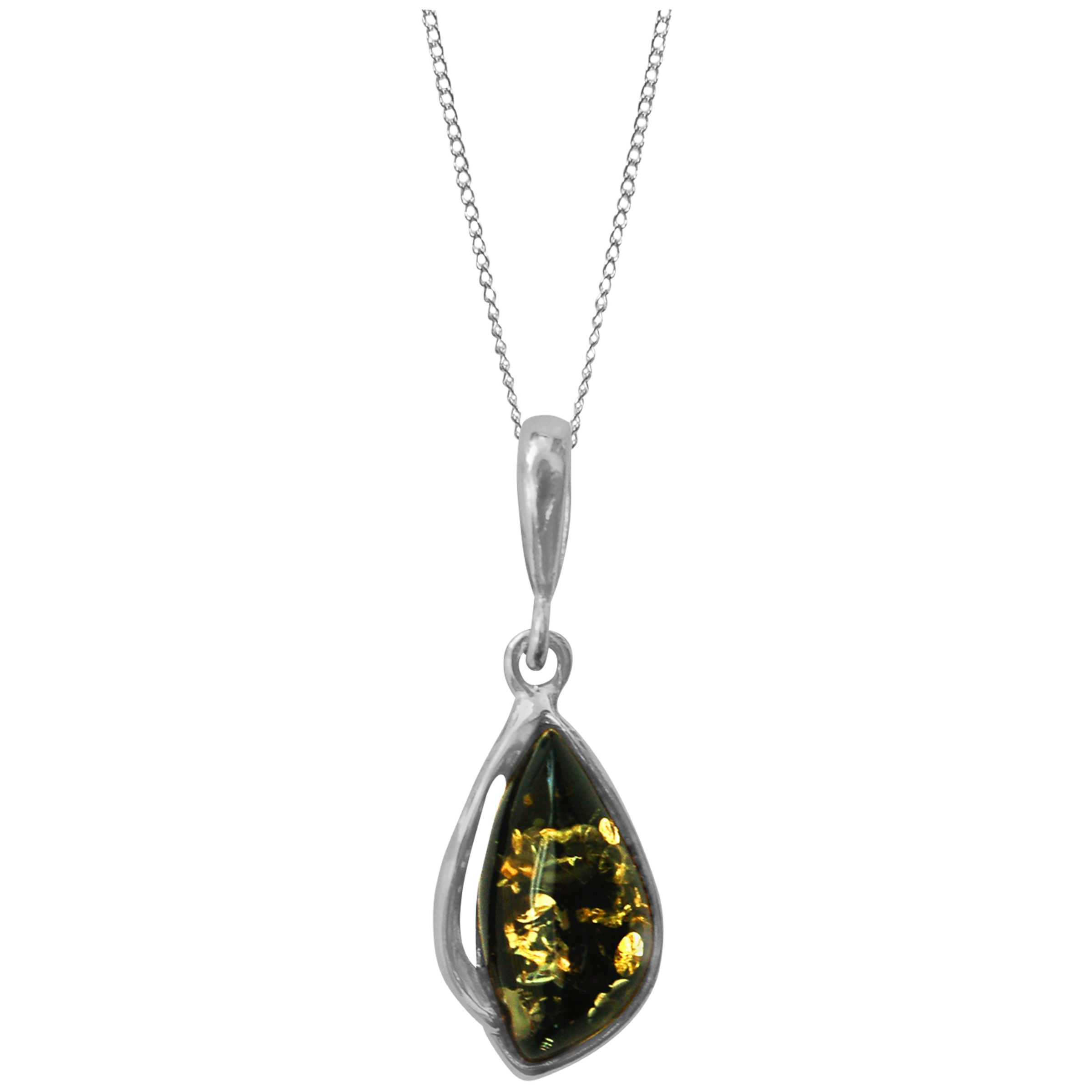 Goldmajor Goldmajor Green Amber and Sterling Silver Drop Pendant Necklace, Silver/Green
