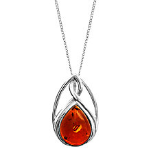Buy Goldmajor Sterling Silver Amber Celtic Pendant, Silver/Amber Online at johnlewis.com