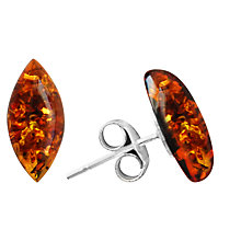 Buy Goldmajor Sterling Silver Amber Marquise Stud Earrings, Brown Online at johnlewis.com