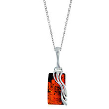 Buy Goldmajor Amber Wave Rectangular Pendant, Silver/Amber Online at johnlewis.com
