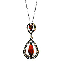 Buy Goldmajor Teardrop Amber Pendant Necklace, Silver/Amber Online at johnlewis.com