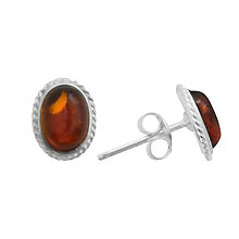 Buy Goldmajor Sterling Silver Amber Stud Earrings, Silver/Amber Online at johnlewis.com