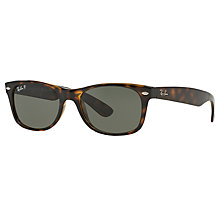 Buy Ray-Ban RB2132 New Wayfarer Polarised Sunglasses, Tortoise Online at johnlewis.com