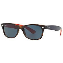 Buy Ray-Ban RB2132 New Wayfarer Sunglasses, Navy/Orange Online at johnlewis.com