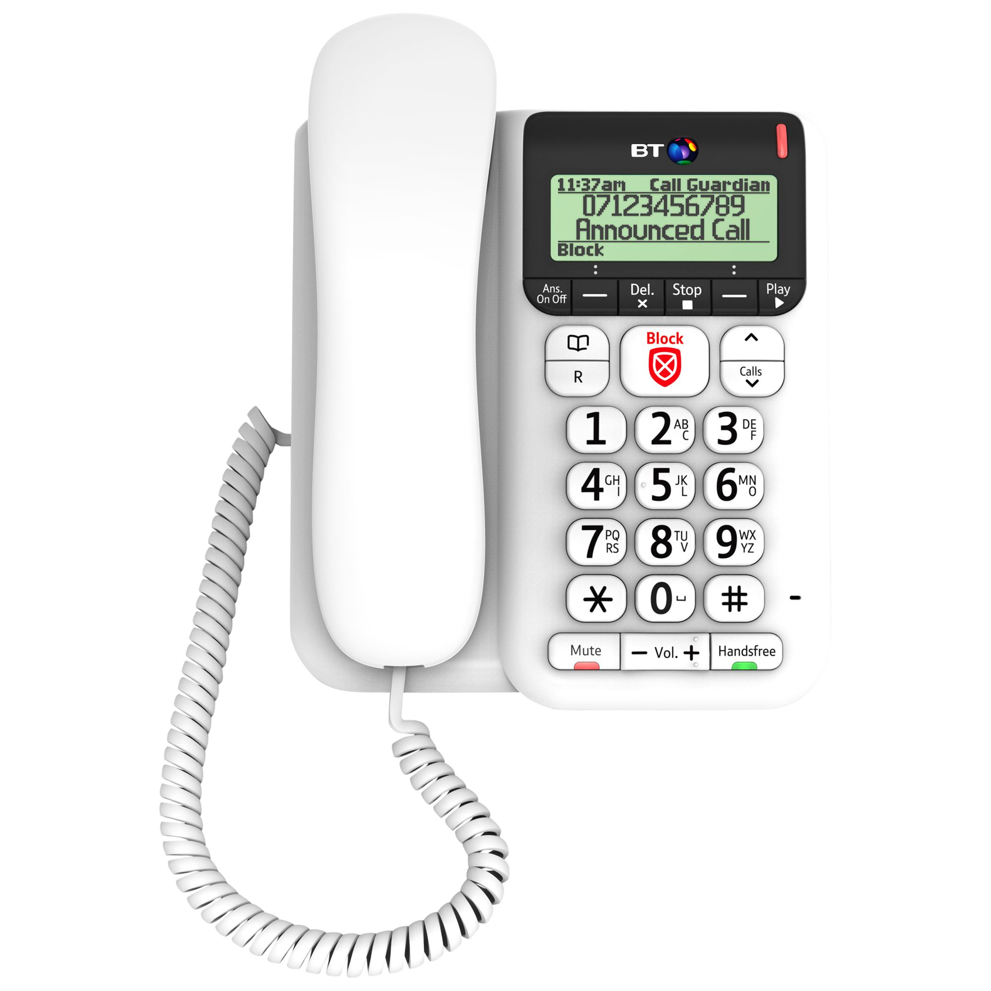 BT BT Décor 2600 Corded Telephone with Answering Machine & Nuisance Call Blocker, White