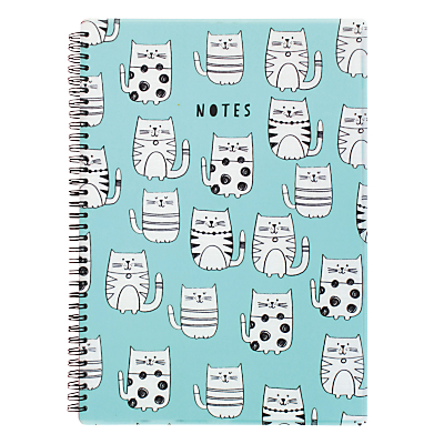 Go Stationery Cats A4 Notebook, Blue.