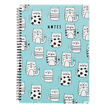 Buy Go Stationery Cats A4 Notebook, Blue Online at johnlewis.com