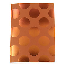 Buy Go Stationery Large Polka Dot A5 Notebook, Copper Online at johnlewis.com
