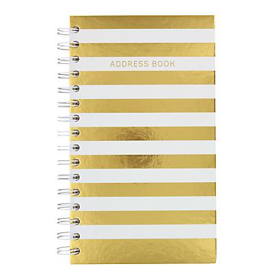 Go Stationery Stripe Address Book, Gold/White.