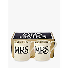 Buy Emma Bridgewater Black Toast Mrs & Mrs Mug, Set of 2, Black / White Online at johnlewis.com