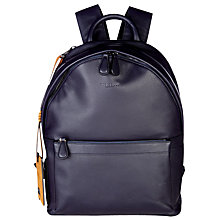 Buy Ted Baker Dollar Leather Backpack, Navy Online at johnlewis.com