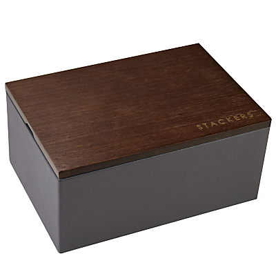 Stackers Mini Charcoal Watch Box With Wooden Lid