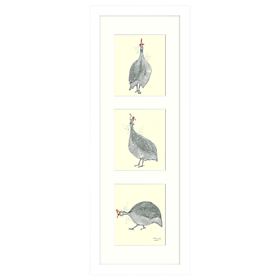 Mimi Emmett – Guinea Fowl Triptych Framed Print, 23 x 63cm