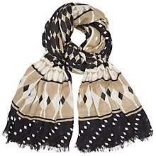 Buy John Lewis Deco Print Scarf, Taupe/Coffee Online at johnlewis.com