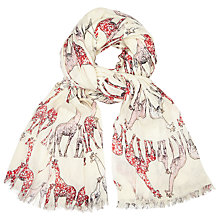 Buy John Lewis Happy Giraffes Cotton Twill Scarf, Cream/Multi Online at johnlewis.com