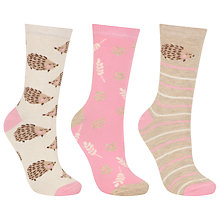Buy John Lewis Hedgehog Print Ankle Socks, Pack of 3, Pink/Natural Online at johnlewis.com