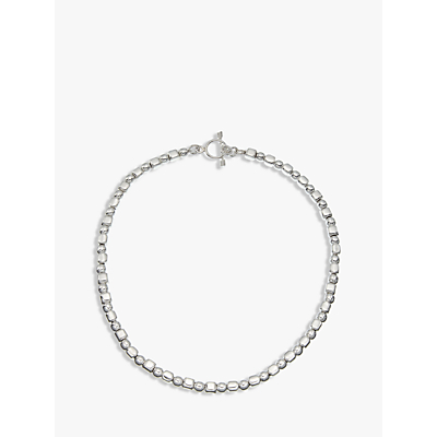 Andea Ball and Cube Necklace, Silver