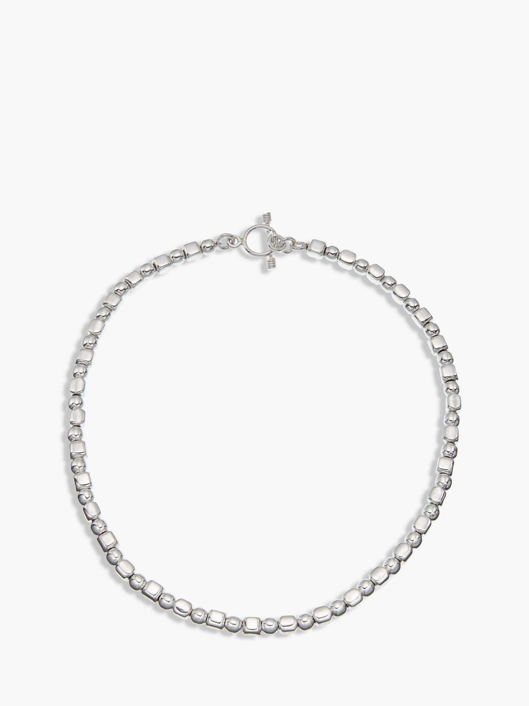 Andea Andea Ball and Cube Necklace, Silver