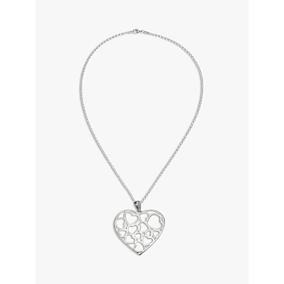 Andea Large Cut-Out Heart Pendant Necklace, Silver