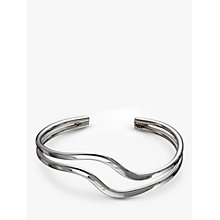 Buy Andea Sterling Silver Double Wave Half Bangle, Silver Online at johnlewis.com