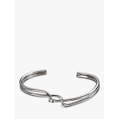 Andea Sterling Silver Slim Twist Half Bangle, Silver