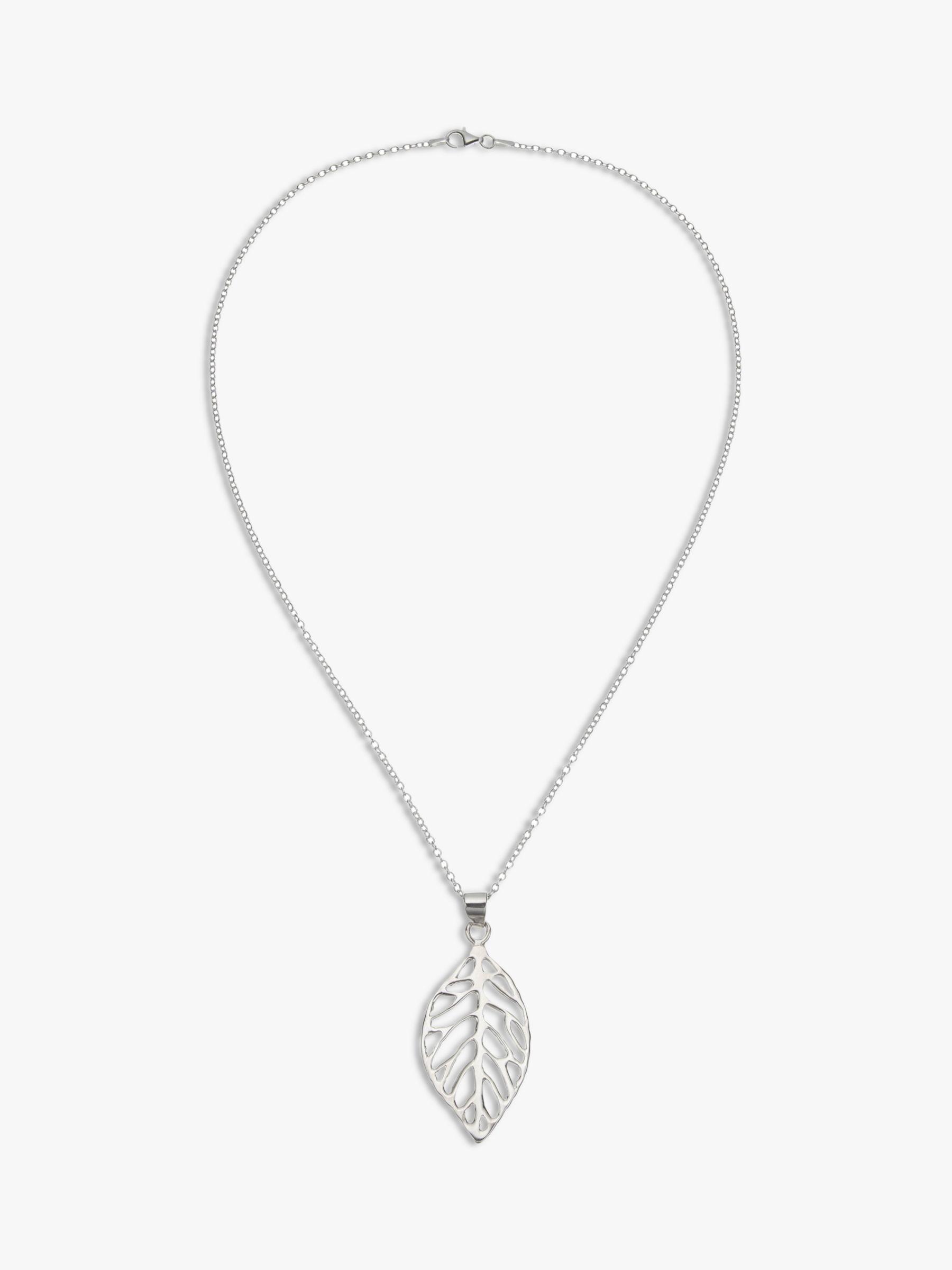 Andea Andea Sculptured Leaf Pendant Necklace, Silver