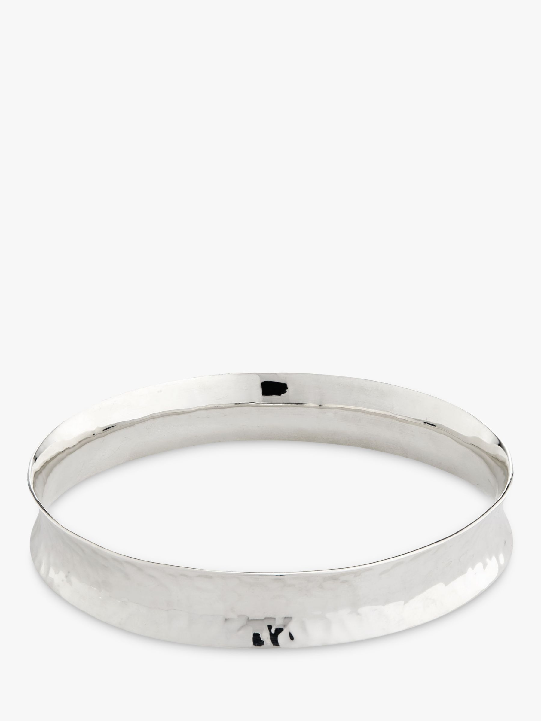 Andea Andea Sterling Silver Hammered Concave Bangle, Silver