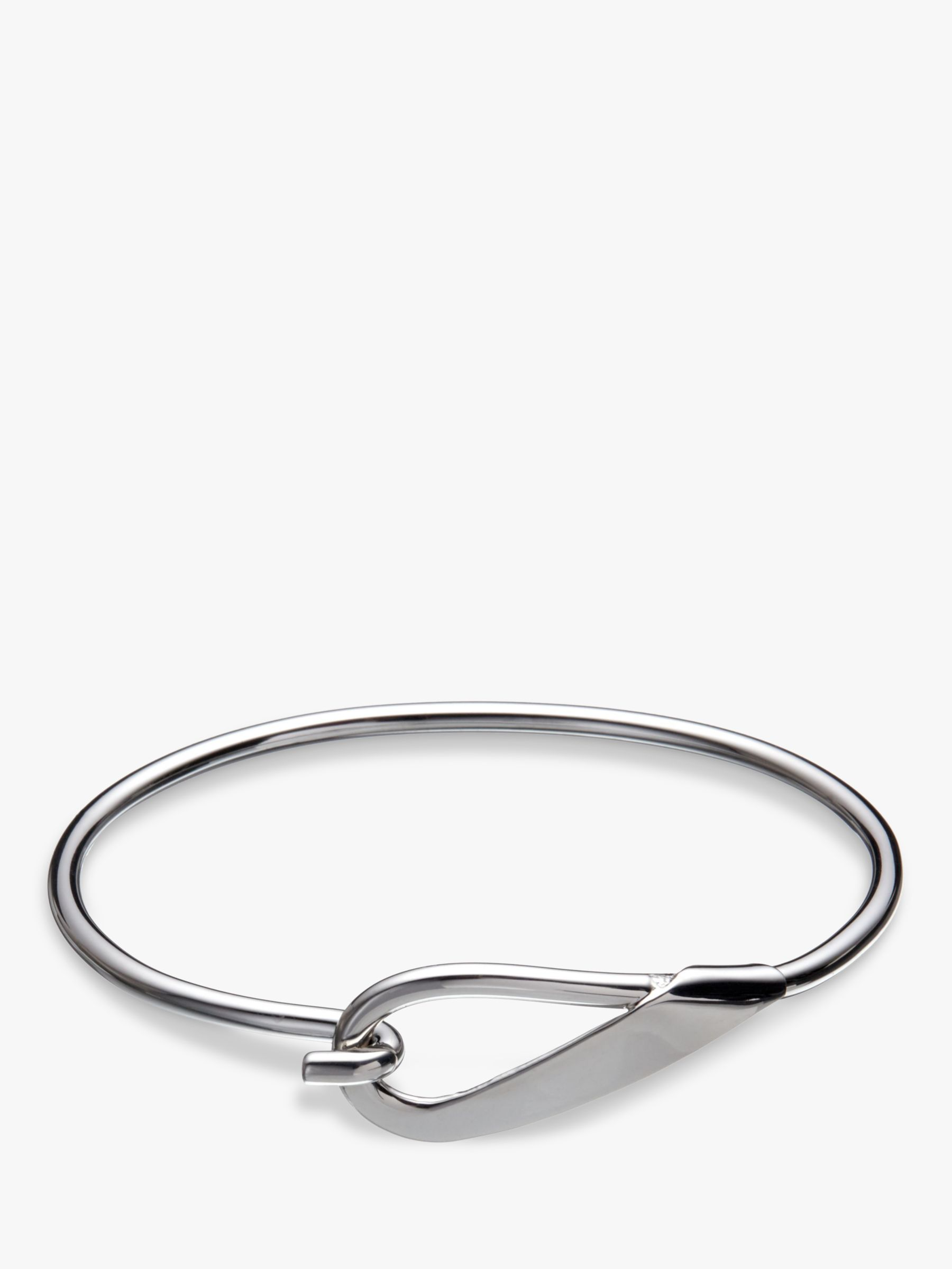 Andea Andea Sterling Silver Hook Open Bangle, Silver