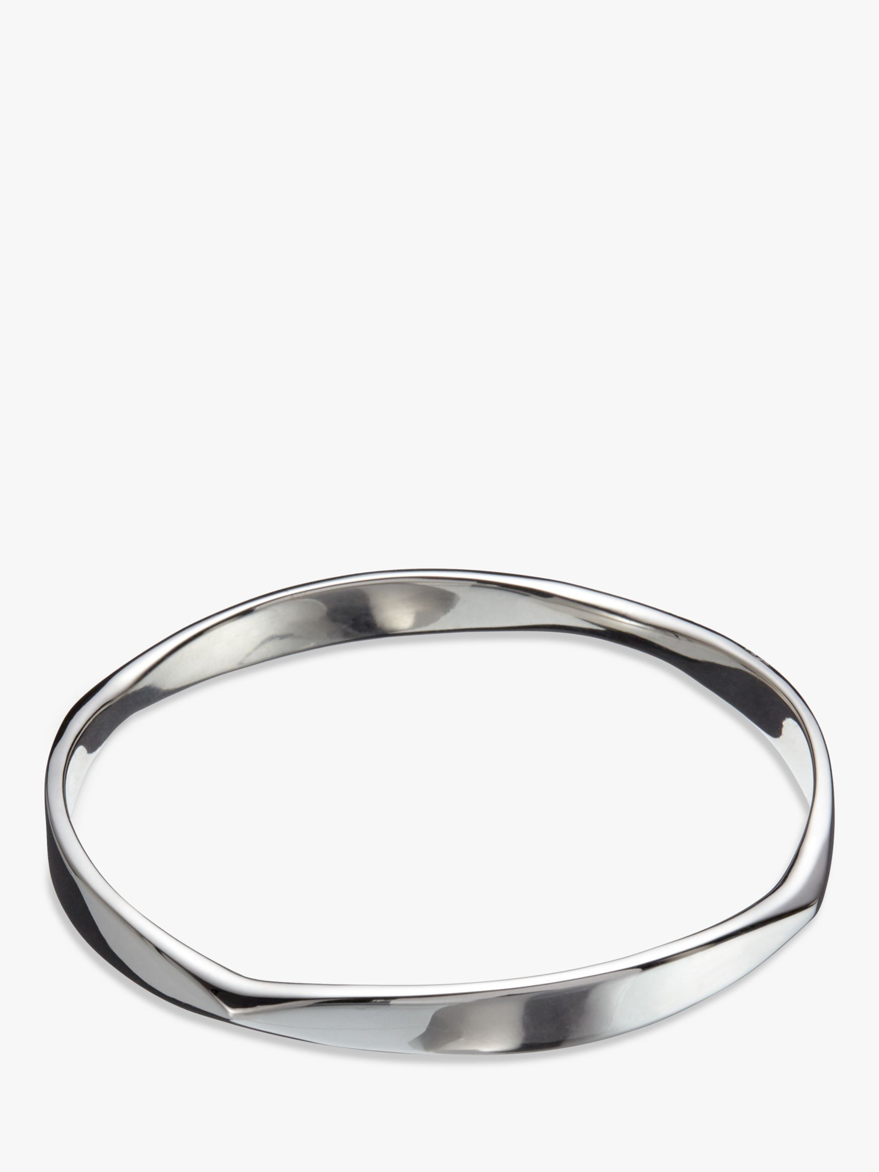 Andea Andea Sterling Silver Polished Curve Bangle, Silver