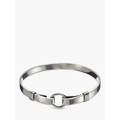 Andea Sterling Silver Round Buckle Open Bangle, Silver